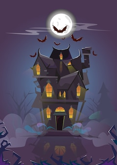 House halloween night bats volant autour