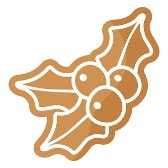 Houx festif de noël avec biscuit de pain d'épice aux baies recouvert de glaçage blanc.