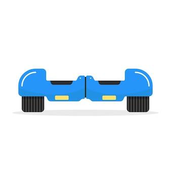 Hoverboard bleu avec ombre. concept de moto, innovation, sport, gyroscope, pneu, activité de rue, machine, gadget. isolé sur fond blanc. illustration vectorielle de style plat tendance logo design