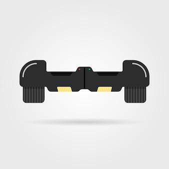 Hoverboard noir avec ombre. concept de moteur, innovation, sport, gyroscope, pneu, activité de rue, machine, gadget. isolé sur fond blanc. illustration vectorielle de style plat tendance logo design