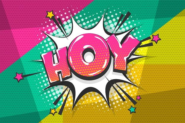 Hoy hey salut salutation collection de texte comique coloré effets sonores style pop art bulle de dialogue