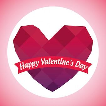 Hppy saint valentin avec coeur en diamant