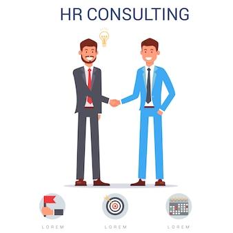 Hr consulting, deux hommes en costume se serrant la main.