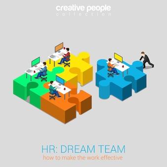 Hr human relations 3dream team solution flat 3d web