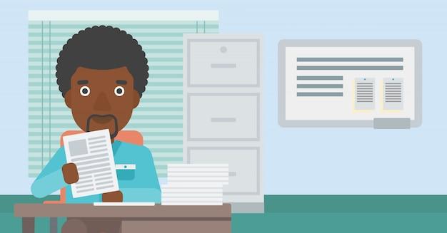 Hr manager vérifiant les fichiers vector illustration.