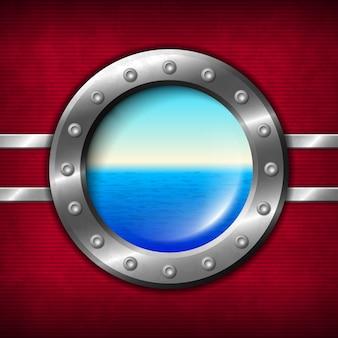 Hublot de bateau avec paysage marin