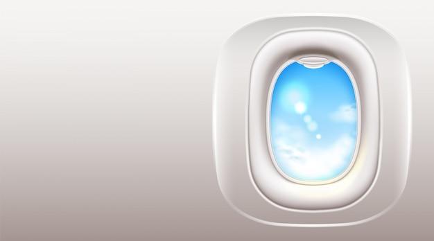 Hublot de fenêtre d'avion réaliste pour la conception de voyages et de tourisme