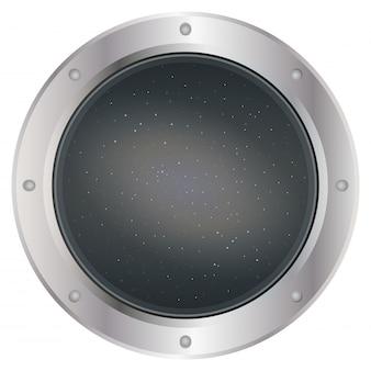 Hublot de fenêtre de vaisseau spatial argent foncé avec espace sur ciel gris foncé et étoiles