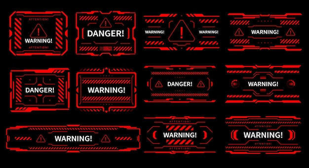 Hud danger et alerte attention panneaux d'interface rouges