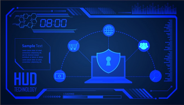 Hud fermé cadenas sur fond numérique, cybersécurité