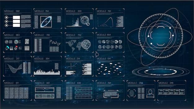 Hud. illustration avec hud pour la conception de fond de jeu. données numériques, résumé d'entreprise
