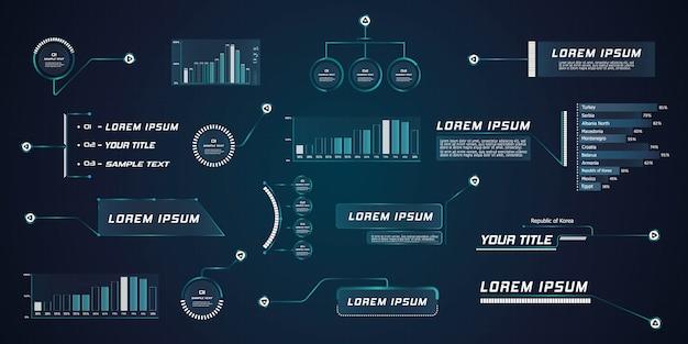 Hud de légende de leader de style futuriste. modèles numériques modernes applicables à la mise en page du cadre. appels d'information et flèches. l'interface des éléments de l'ensemble graphique.