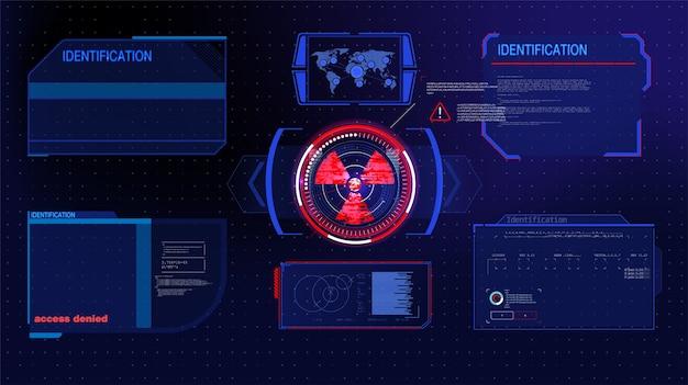 Hud, ui, ensemble d'éléments d'écran d'interface utilisateur futuriste gui. écran haute technologie pour jeu vidéo.