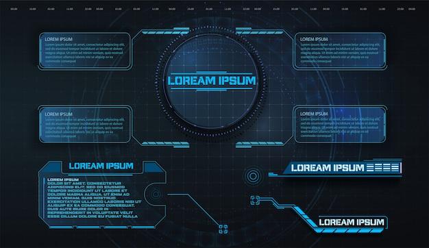 Hud, ui, gui éléments de l'écran de l'interface utilisateur du cadre futuriste définis