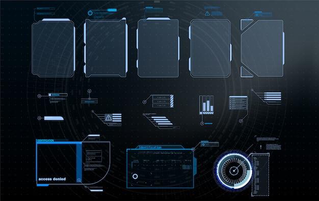 Hud, ui, gui ensemble d'éléments d'écran d'interface utilisateur cadre futuriste.