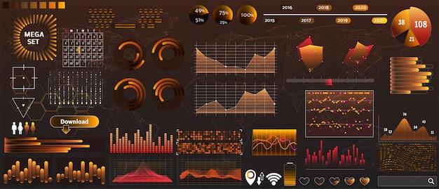 Hud vectoriel jaune doré dans des couleurs tendance pour les applications de conception et d'appareils
