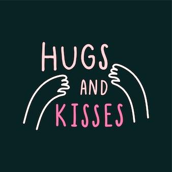 Hug et bisous avec amour vecteur bras