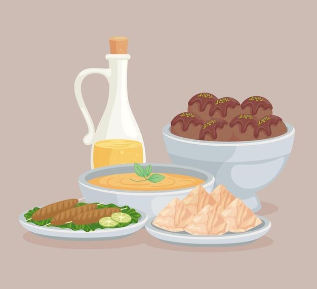 Huile et aliments arabes