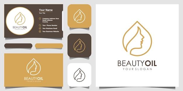 Huile de beauté logo design template element et carte de visite. concept d'huile de beauté.
