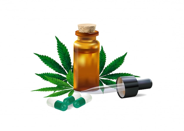 L'huile de chanvre. drogues et feuilles de cannabis isolés sur blanc