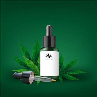 Huile de chanvre et feuille de cannabis isolées. huile de cannabis en bonne santé, illustration vectorielle.