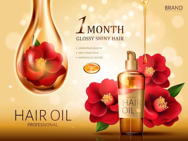 Huile de cheveux de camélia contenue dans une bouteille, avec des fleurs de camélia rouge et une énorme goutte d'huile recouvrant une fleur, fond doré