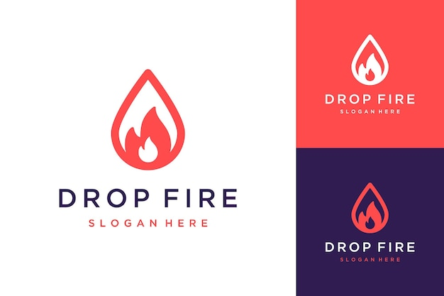 Huile de conception de logo industriel avec des gouttelettes de gaz ou d'huile avec feu