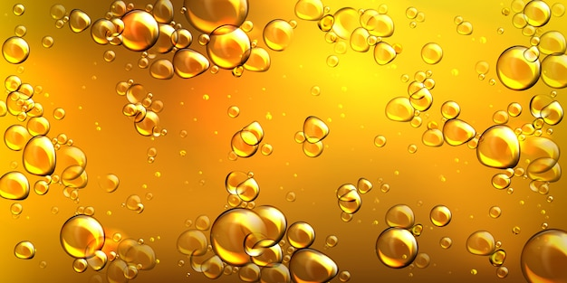 Huile jaune réaliste de vecteur avec des bulles d'air