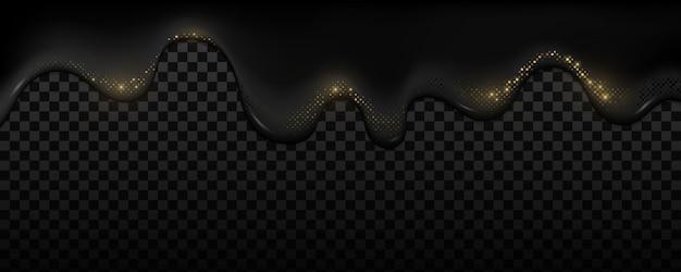 Une Huile Noire Réaliste Avec Un Effet De Demi-teinte De Paillettes Dorées Coule Sur Une Obscurité Transparente. Liquide Foncé Et Points Pétillants. Vecteur Premium
