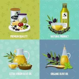 Huile d'olive 4 icônes de dessin animé