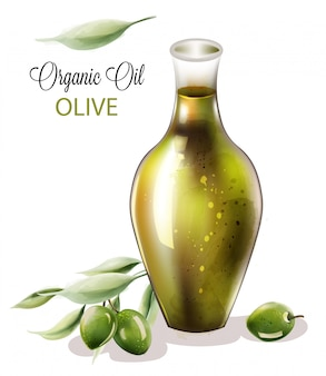 Huile D'olive Biologique En Verre De Forme Abstraite Vecteur Premium