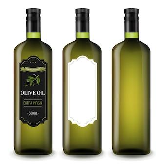 Huile d'olive dans des bouteilles en verre blanc