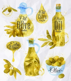 Huile d'olive dessiné aquarelle