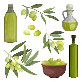Huile d'olive ensemble de bouteilles et une cruche, une assiette d'olives marinées, de branches et de fruits. conception d'emballages ou de publicités pour le commerce des olives et de l'huile