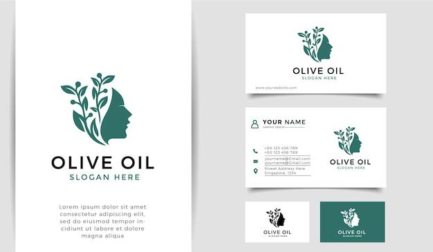 Huile d'olive avec le logo et la carte de visite de silhouette de femme