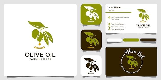 Huile d'olive avec modèle de conception de logo de carte de visite