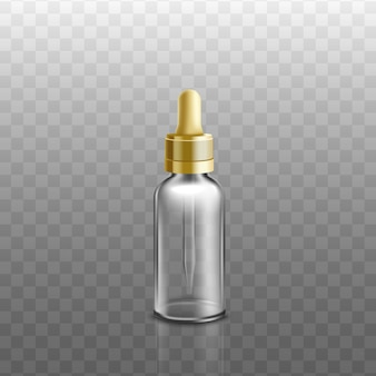 Huiles essentielles médicales, cosmétiques ou bouteille en verre de sérum liquide visage avec compte-gouttes doré, illustration réaliste sur fond transparent.
