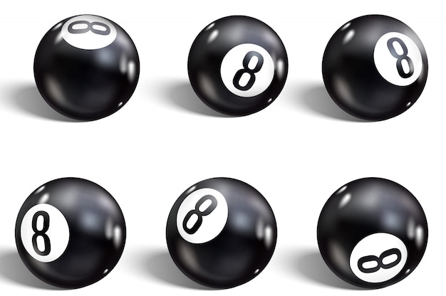 Huit ball. ensemble de 8 ball réaliste.