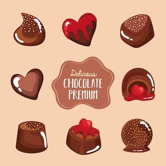 Huit chocolats premium