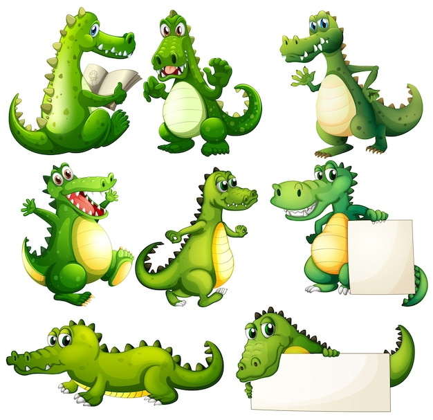Huit crocodiles effrayants