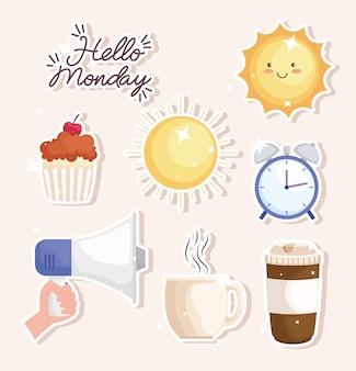 Huit icônes bonjour lundi