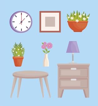 Huit icônes de décoration d'intérieur