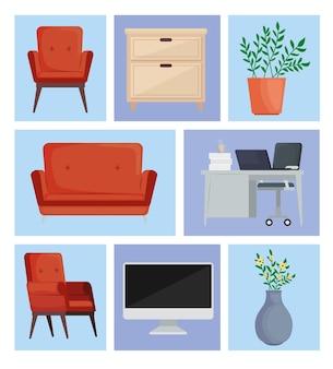 Huit icônes d'espaces d'accueil