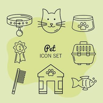 Huit icônes de magasin d'animaux de compagnie
