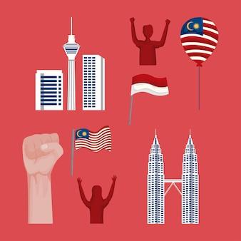 Huit icônes de la malaisie et de l'indonésie