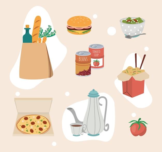 Huit icônes de nourriture à la maison