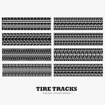 Huit marques de pistes de pneus définies