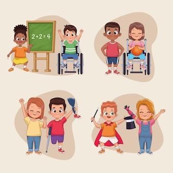 Huit personnages d'enfants handicapés