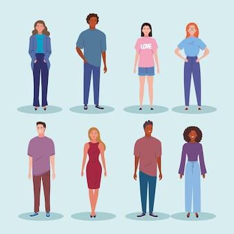 Huit personnages de jeunes