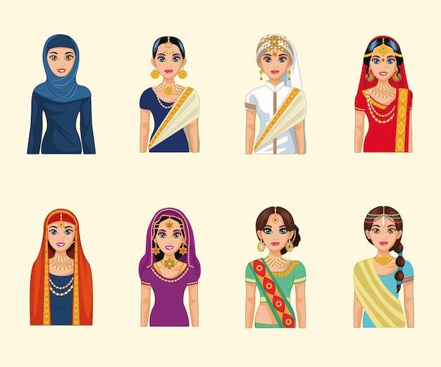 Huit personnages de mariées arabes